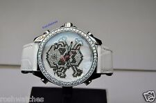 Jacob & Co Five 5 Time Zone 40 MM Diamond Bezel Skull White Dial Watch JC-SKULL7