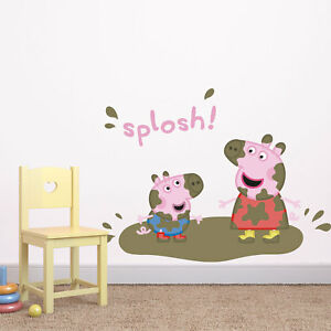 Peppa Pig and George splosh wall sticker   Official Peppa Pig wall stickers