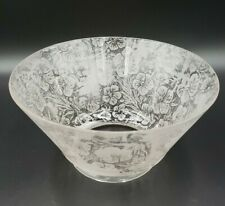 Vintage Etched Floral Glass Oil/Tea Lamp Shade UNIQUE EARLY 1900'S