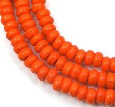 """4x2mm Turquoise Rondelle Beads 16""""  - Orange"""