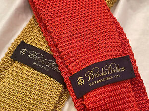 2 Brooks Brothers Yellow, Redish-Orange, Textured Knit Ties, See Details! Silk!