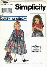 Simplicity Daisy Kingdom Child's Dress,Jacket and Doll Dress Pattern 7867 7-12