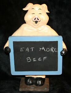 """Ganz Pig with Chalkboard Sign 12 1/2"""" Tall """"Carved Wood"""" Look Cute"""