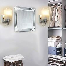 Modern Silver Chrome & White Glass Indoor Wall Light Lamp Lights Fittings