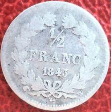 RARE:1 pièce 1/2 frs LOUIS PHILIPPE 1843W ARGENT