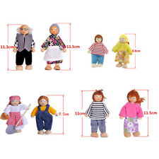 Miniature Wooden Furniture Dolls House Family 7 People Set For Kid Child Toy