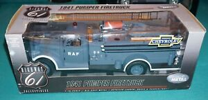 1941 Pumper Firetruck R.A.F. 1/16 Highway 61 Chevrolet Diecast Never Out Of Box