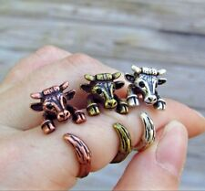 Cow Ring - Adjustable Wrap Ring - Silver Bronze Rose Gold Animal Cattle Jewelry