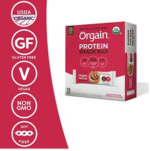 LOT 36 BARS Orgain Organic Protein Bar PEANUT BUTTER, CHOCOLATE + COOKIE DOUGH