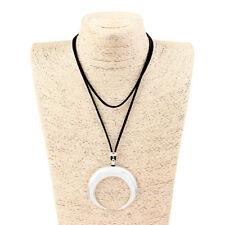 1Pcs Antique Silver Crescent Moon/ Bull Ox Horn Charms Pendant Long Necklace
