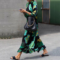 Women Evening Party Floral Print Long Sleeve Ruffle Casual Oversized Long Dress