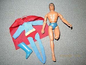 """MEGO 1974 Superman 8"""" action figure-Uniform & cape--missing lower leg & one boot"""
