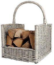 Esschert Design Firewood Basket Grey MW42 Willow Branches Carrying Handle