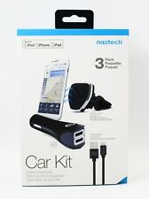 Naztech MFi Lightning® 3 Pack Safety Essentials Car Kit iPhone Vent Mount Clip
