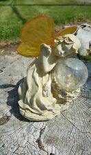 1 X Fairy Girl Sleeping on Color Change LED Glass Crackle Ball Solar Light