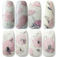 Fiori rosa adesivi unghie 3D nail art pink flowers stickers manicure gel polish
