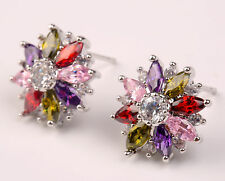 18K White Gold Filled - SunFlower Eye Topaz Ruby Amethyst Stud Women Earrings