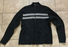 Polo Ralph Lauren Black w/ white stripes Zip Up Sweater Mens Extra Large XL