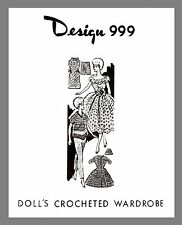 "Vintage Mail Order 11 1/2""  Doll's crocheting Wardrobe crochet pattern # 999"