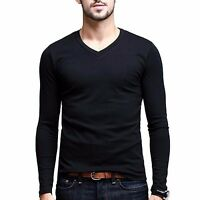 Men's Simple Low V-neck Long sleeve High elastic Cotton Fashion T-shirt White XL