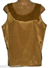 Womens Ladies Sleeveless Thai Silk Blouse / Top / T-Shirt / XXL / UK 24 / Gold