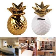 Gold White Pineapple Piggy Bank Ceramic Save Money Coin Saver Box Pot Lucky Gift