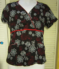 Medium S B Scrubs Top Black with White and Red Flowers and Red Trim Cotton