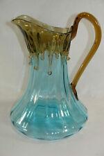 "Hand Blown Art Glass Decorative Aqua Pitcher Vase with Amber Drip Overlay 9"" Vtg"