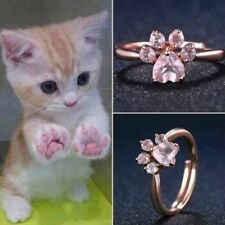 So Cute!  Dog Bear Paw Cat Claw Women Rose Gold Opening Adjustable Zircon Ring