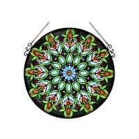 "Window Panel 26"" Round Floral Design Tiffany Style Stained Glass  ONE THIS PRICE"