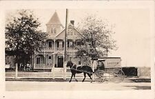 c.1910 RPPC GE Nugent Grocer Delivery Wagon & Home