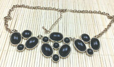 Fashion Necklace Acrylic Black Smooth Cabochon Goldtone Statement Choker