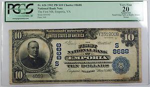 1902 Ten Dollar $10 First National Bank Emporia, VA FR# 626 PCGS VF-20 Details