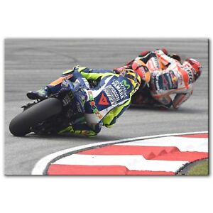 Valentino ROSSI & Marc MARQUEZ MotoGP Canvas Print Poster Art ~ 5 Sizes