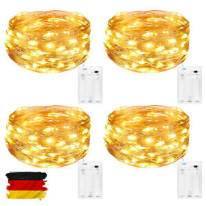LED Lichterkette Batterie Außenbeleuchtung 30/50 LED Kupferdraht Lichterkette DE