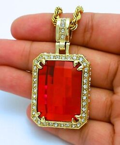 MENS RICH GANG RED RUBY PENDANT STAINLESS STEEL ROPE CHAIN NECKLACE