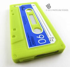 GREEN FUN CASSETTE TAPE SILICONE RUBBER SKIN CASE COVER APPLE IPHONE 5 5S SE