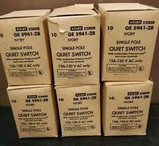 NEW Lot of 60 Ivory Single Pole Quiet Switch 15A-120V GE 5941-2B Electrical