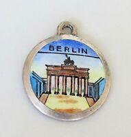 BRANDEBURG GATE ~ BERLIN ~ Vintage Silver Enamel Travel Shield Charm RARE
