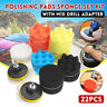 22PCS Polishing Pads Waffle Sponge Buff Set Kit With M10 Drill Adapter for