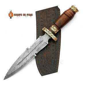CUSTOM HANDMADE DAMASCUS STEEL DAGGER KNIFE WOOD HANDLE BRASS SPACER FILEWORKED