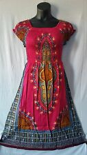 Women Clothing African dashiki print Dress Rayon Elastic waist Free Size Fuchsia