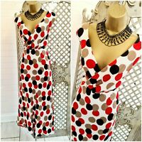 ALEX & CO 💋UK 16 Dotty Spotted Print Linen Fit & Flare Midi Tea Dress ~Free P&P