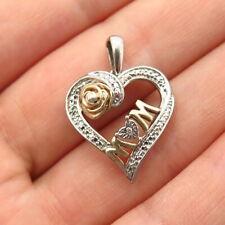 "925 Sterling Silver 2-Tone Real Diamond Accent ""Mom"" Heart Design Pendant"