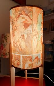 Mucha The Four Seasons Design Decoupaged Table Lamp with Legs Night Light Gift