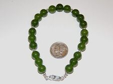 "Sterling Silver and 8mm Jade Bracelet 8 1/4"" (7851)"
