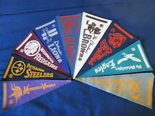 "VINTAGE NINE NFL FELT TEAM PENNANTS 4"" x 9"" INCHES"