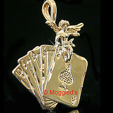 uardian Angel LUCKY CARD 24k GOLD Layered Charm / Pendant + LIFETIME GUARANTEE