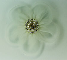 5 Pieces Large Organza Flowers Sew On Appliques   Colour: Silver  Cream #2
