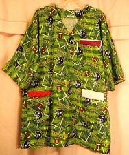 Football Theme on Green Striped Scrubs Top with 3 Pockets for Size 3X  FSMTP36